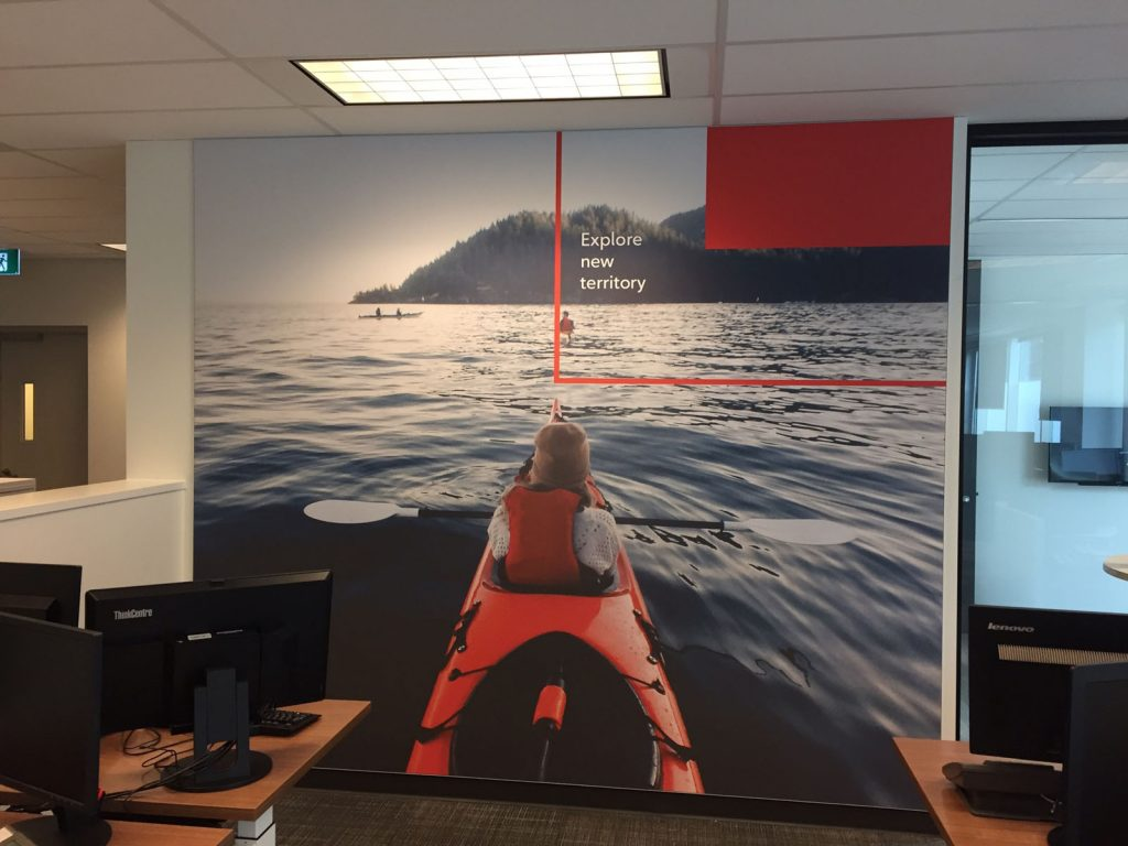 explore new territory custom wall cover in rogers office