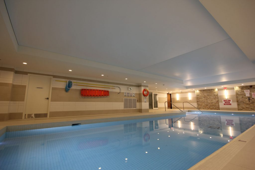 finished project of reflective ceiling in a pool