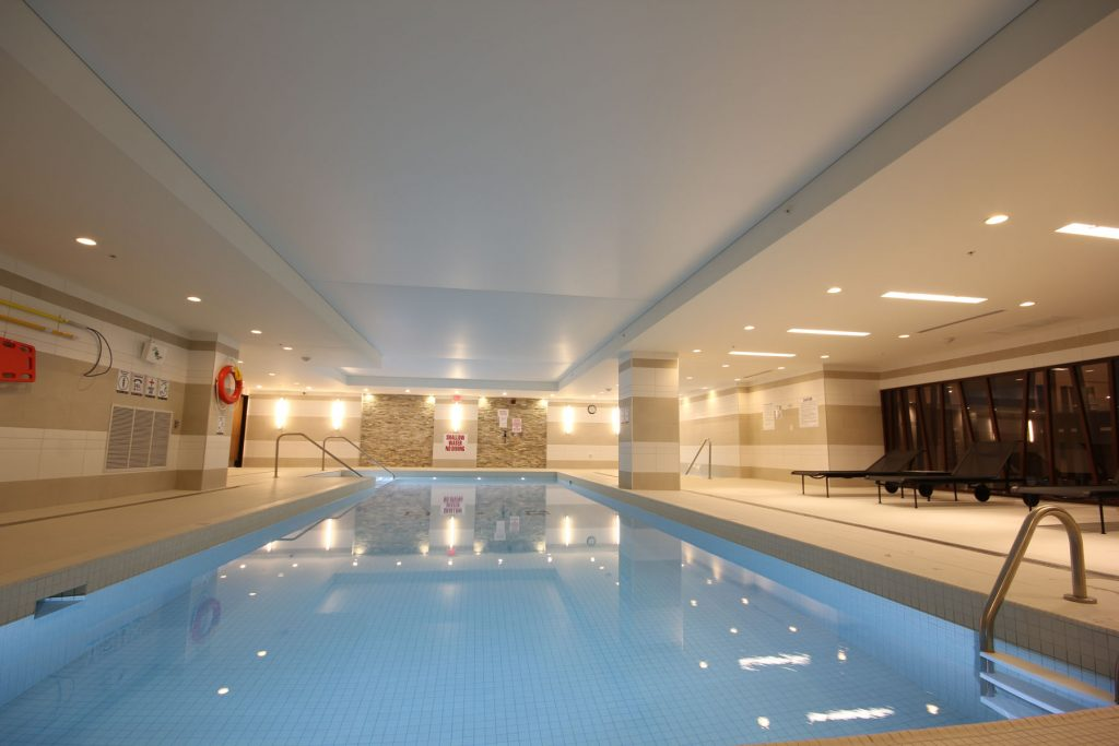 luxury swimming pool with stretch ceiling matte romania