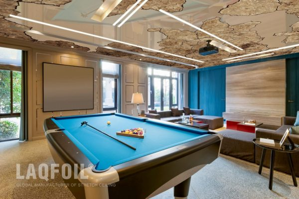 amazing game room with custom printed stretch ceiling