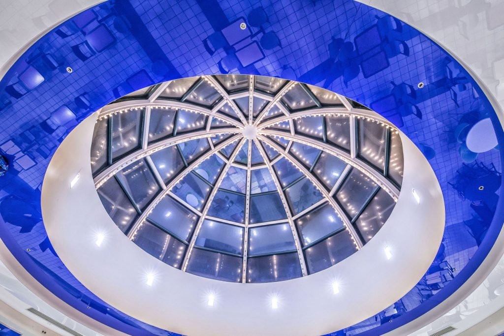 amazing blue multilevel gloss stretch ceiling in a mall USA