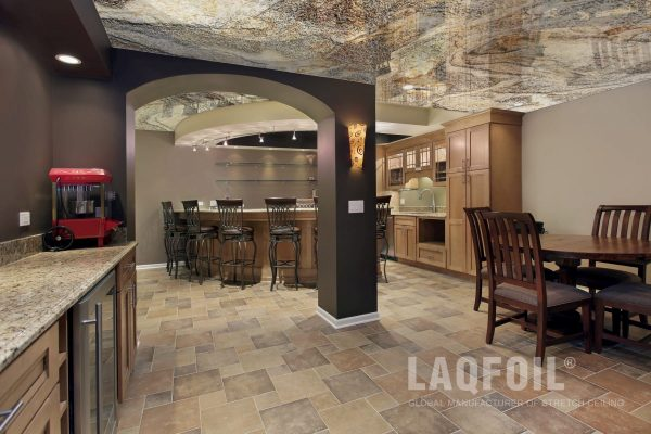 basement with printed ceiling