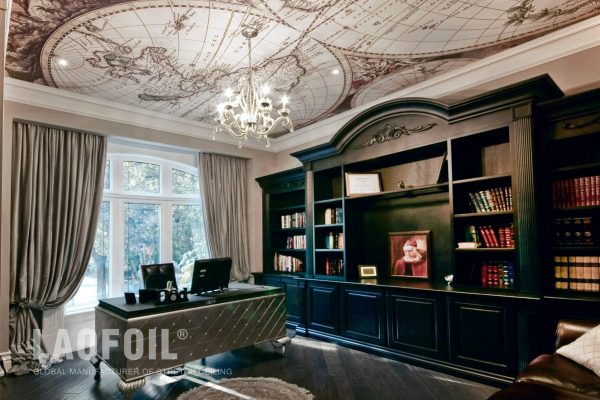 amazing printed ceiling in custom home office by laqfoil