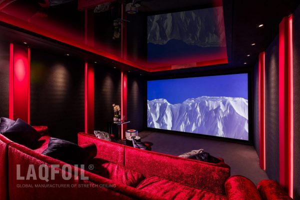 high gloss backlit stretch ceiling in home theater