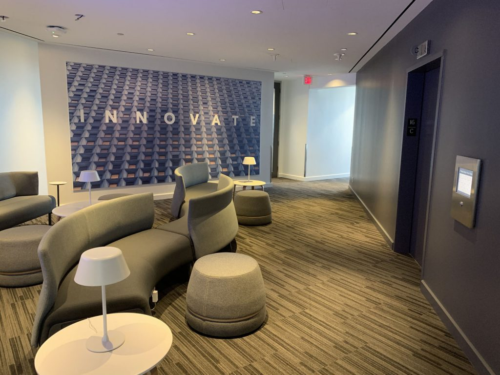 luxury waiting room with custom wall mural rogers office