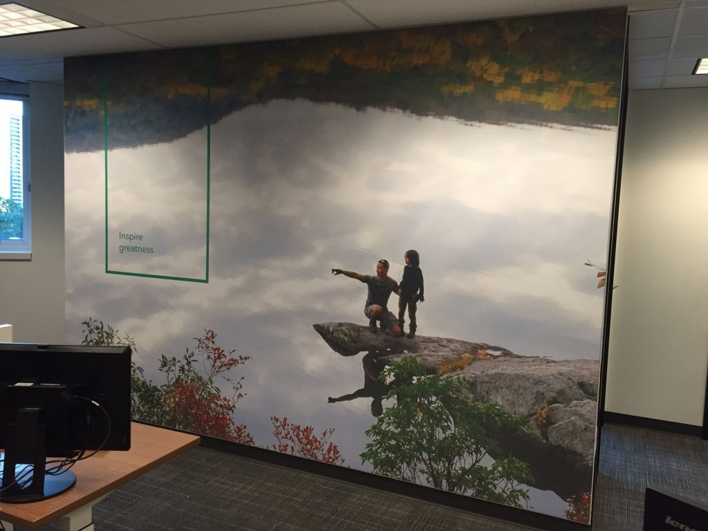 office custom wall cover with slogan inspire greatness