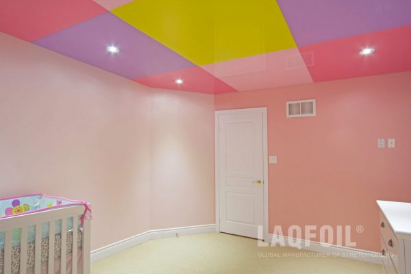 amazing kids room with reflective multicolor stretch ceiling