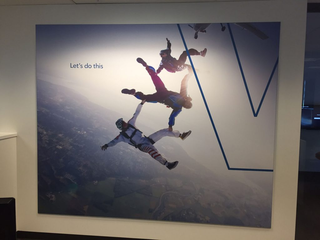 paratroopers jumping from airplane printed custom wall cover