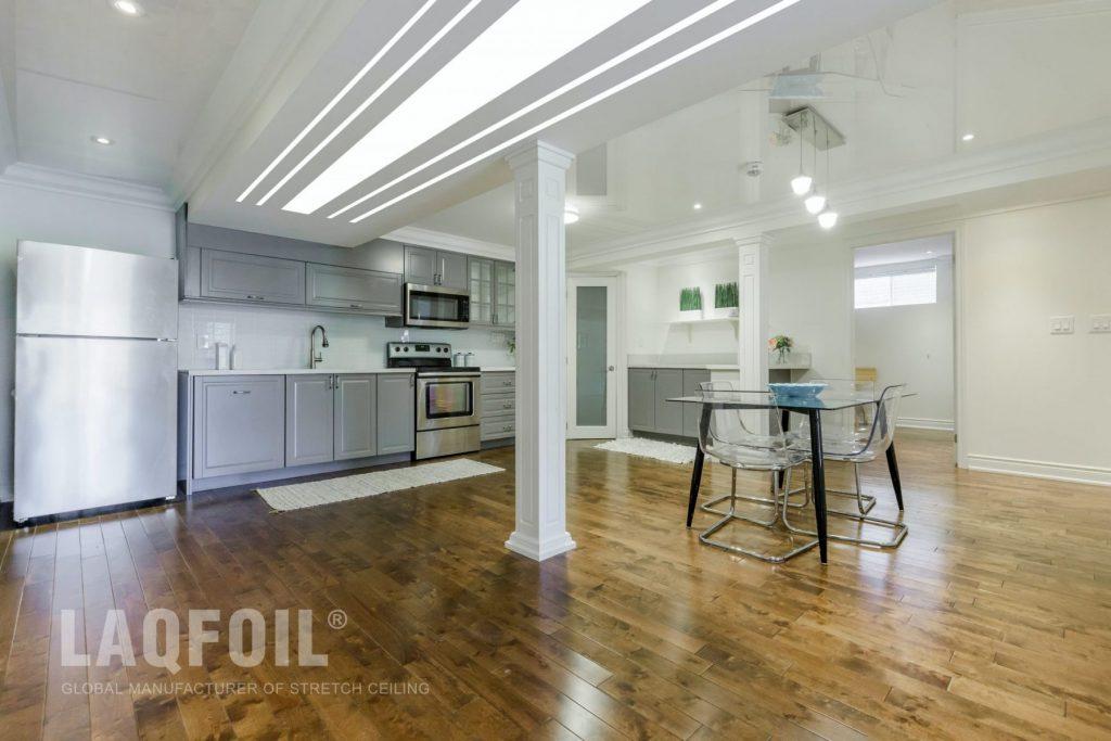 basement kitchen with custom liner lights ceiling