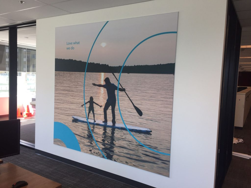 custom wall mural of two people in the lake