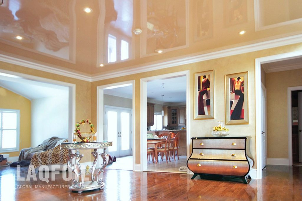 classic family room with amazing beige reflective stretch ceiling