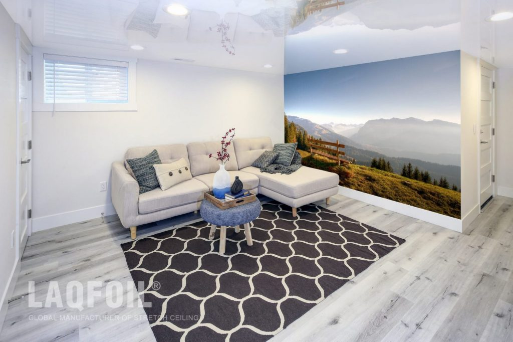 Amazing Basement with High Gloss Stretch Ceiling