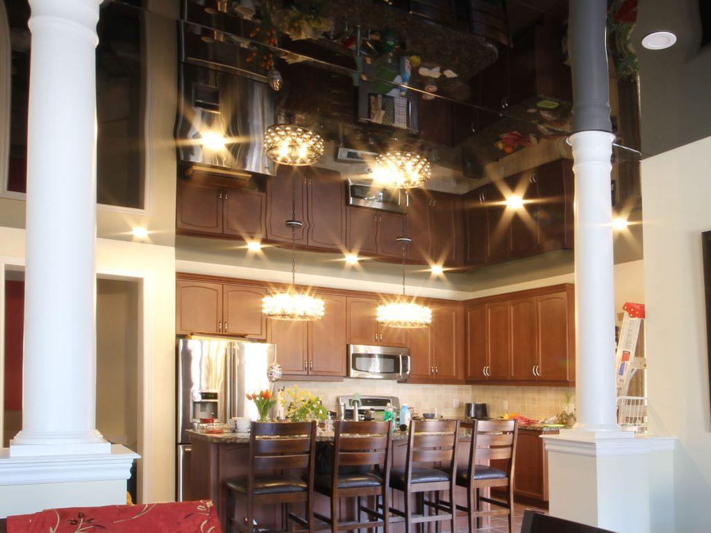 modern kitchen with amazing glossy stretch ceiling Denmark