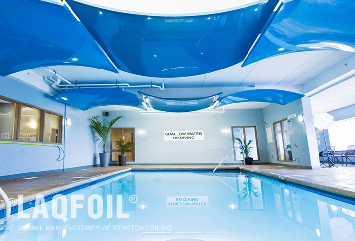amazing pool with blue reflective modular structures