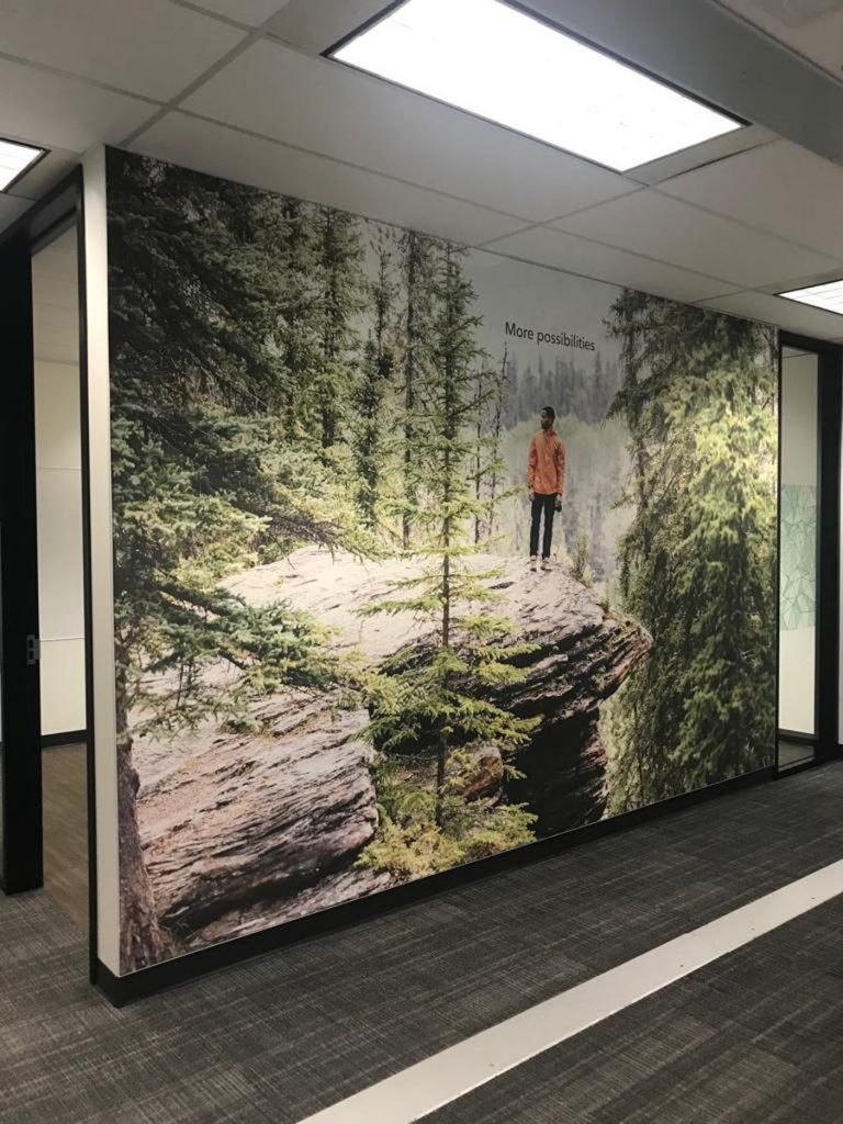man in the forest on printed wall cover in custom office