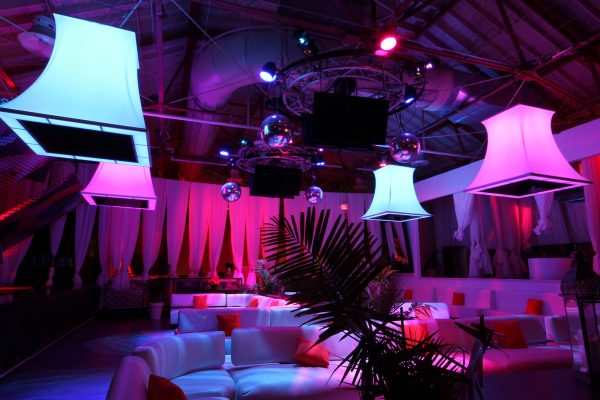amazing multi color modular structure in luxury night club