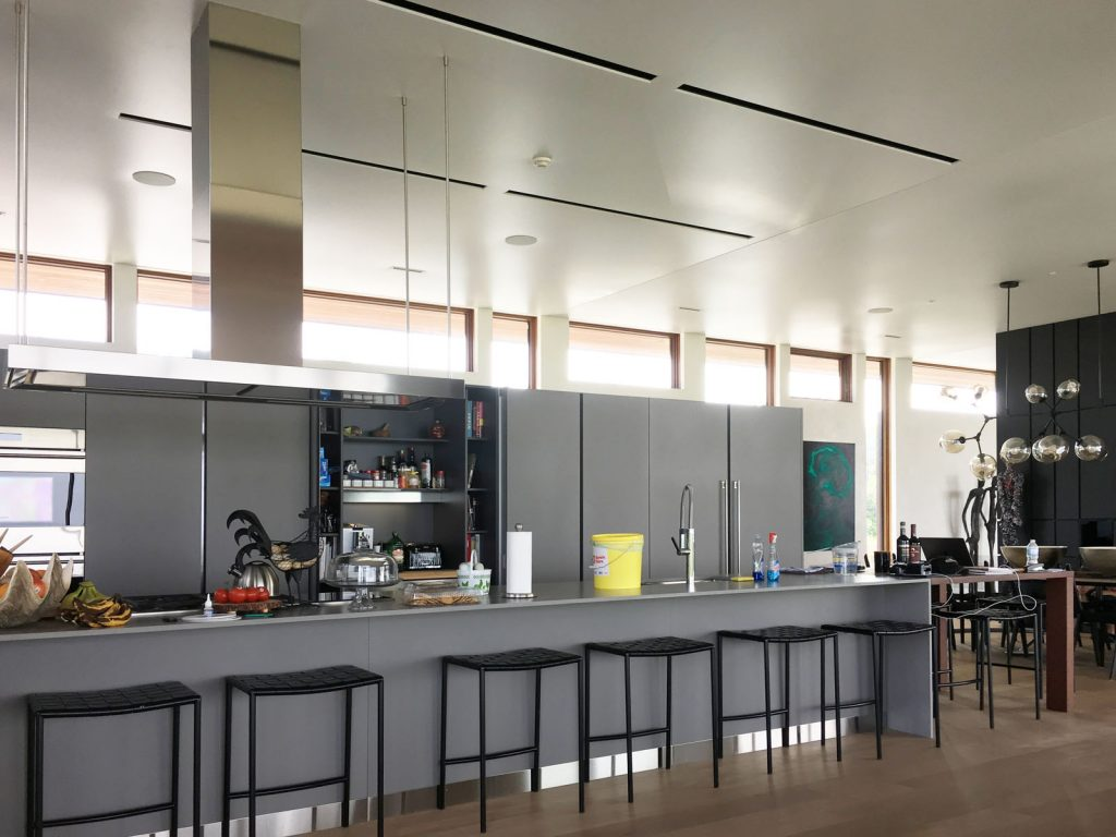 amazing kitchen with stretch fabric and Linear Lights Ceilings