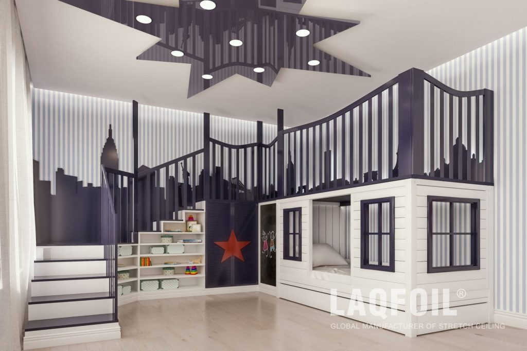 Multilevel Stretch Ceiling With Perimeter Lights