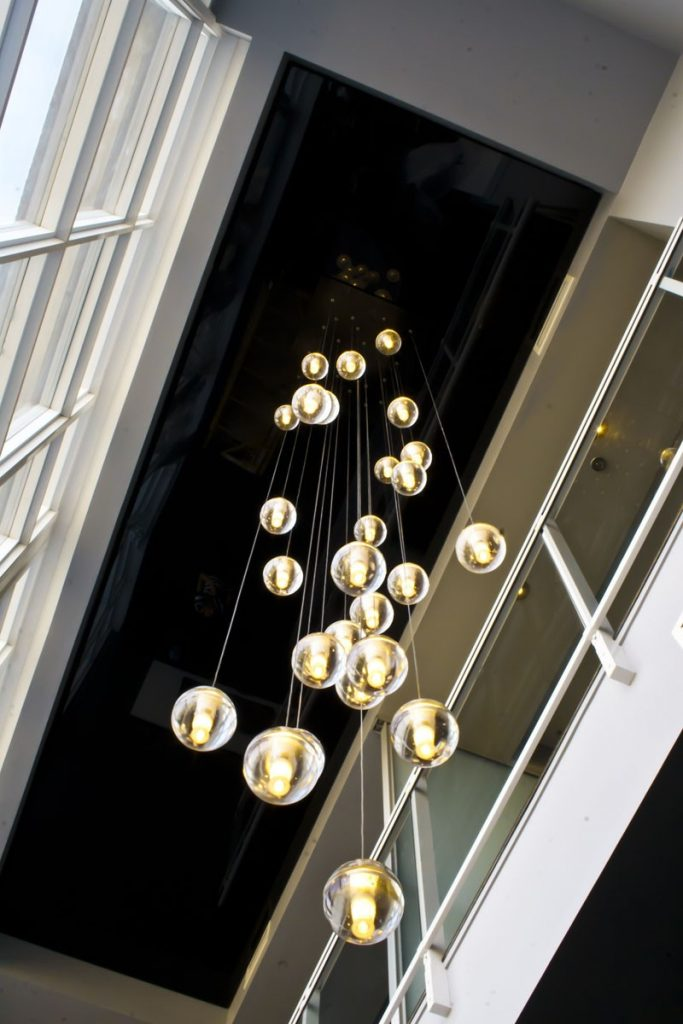 multilevel black reflective stretch ceiling