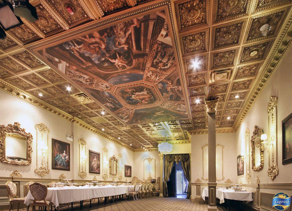 multilevel printed ceiling in custom hallway