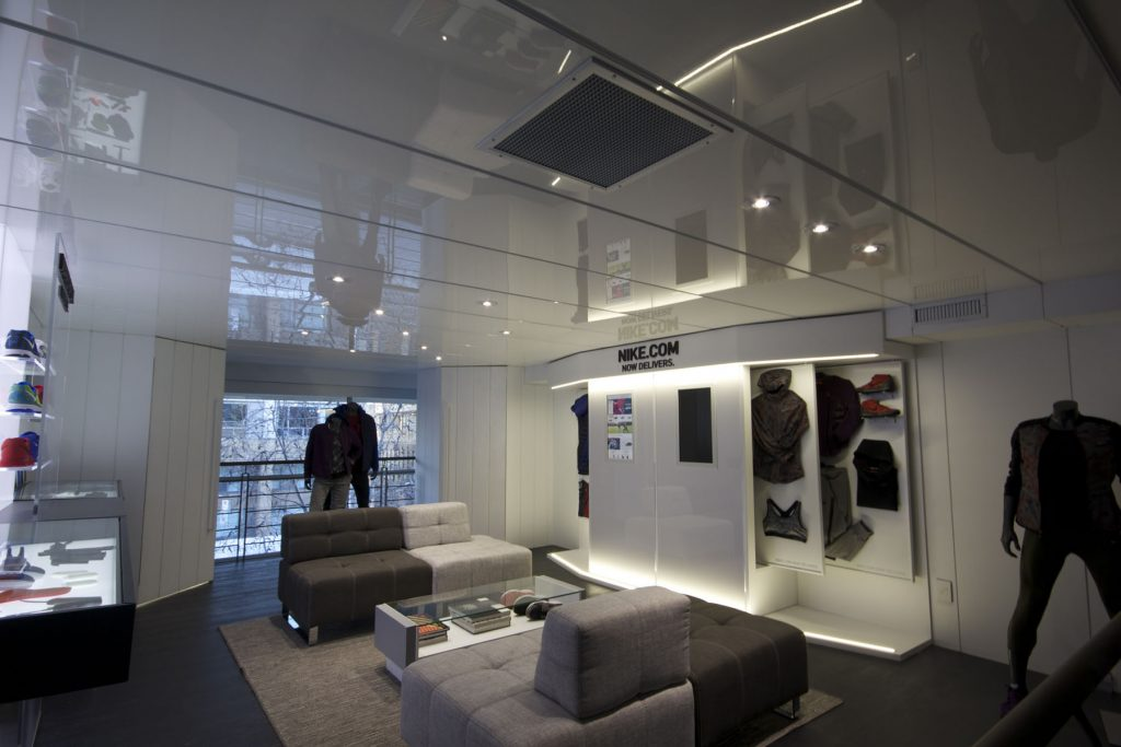 luxury reflective stretch ceiling in nike shop Vancouver