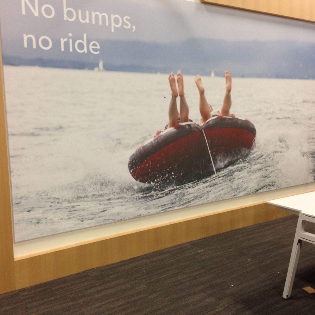 no bumps no ride slogan on custom wall cover