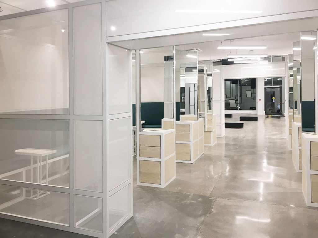 office open space glass walls