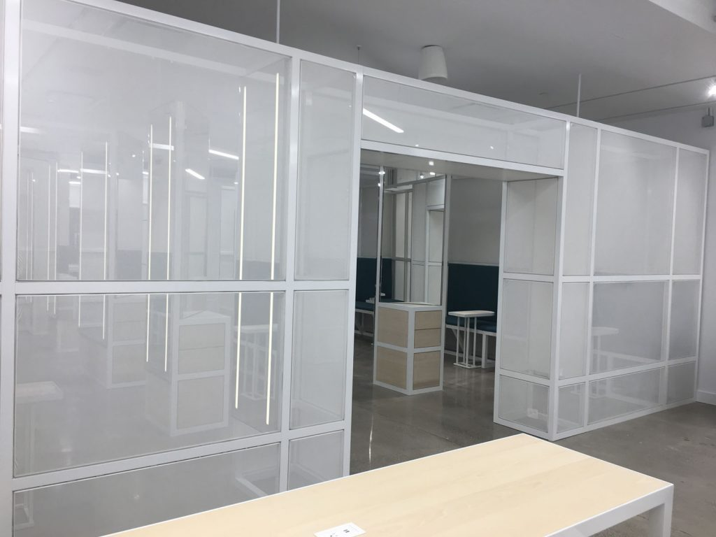 office white glass walls