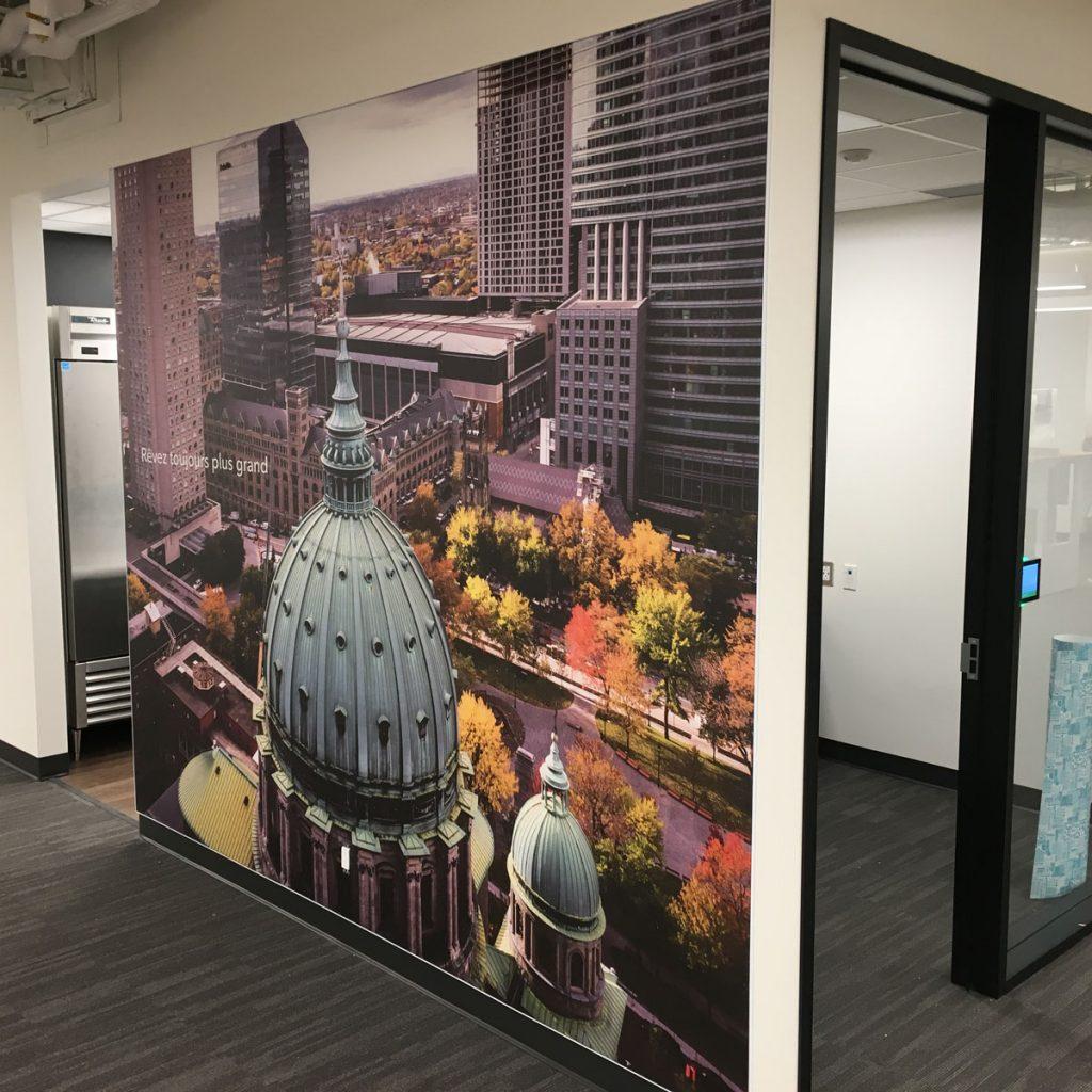 amazing wall mural in custom office