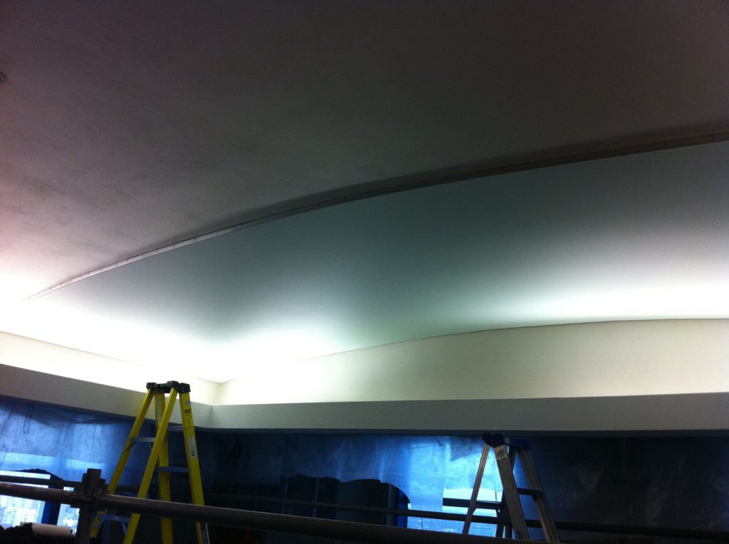 part of the ceiling is covered with stretch ceiling decor toronto