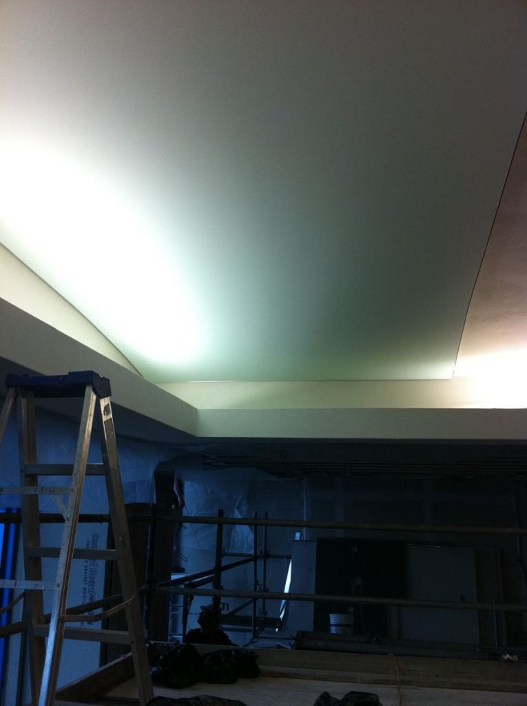 application of stretch fabric on plain ceiling by laqfoil