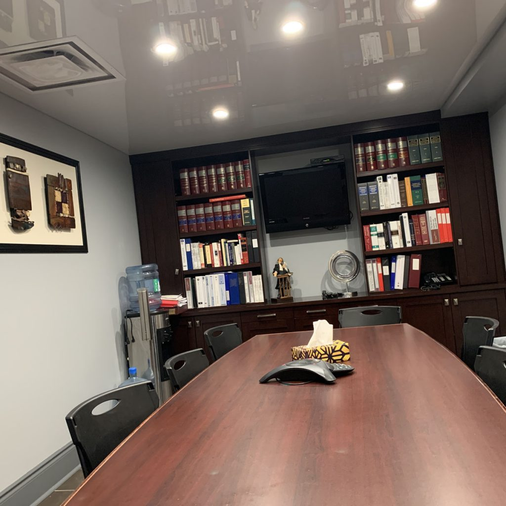 meeting room with high gloss stretch ceiling toronto