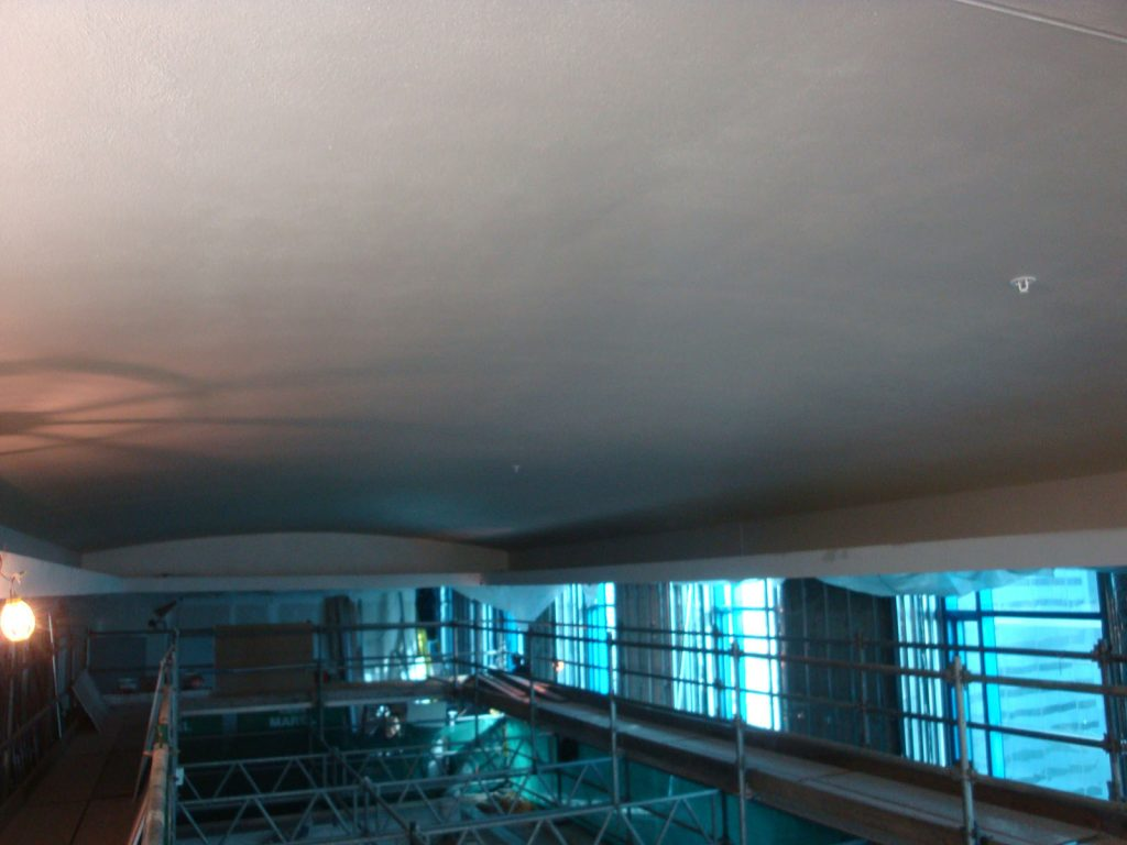 plain ceiling before installing stretch fabric