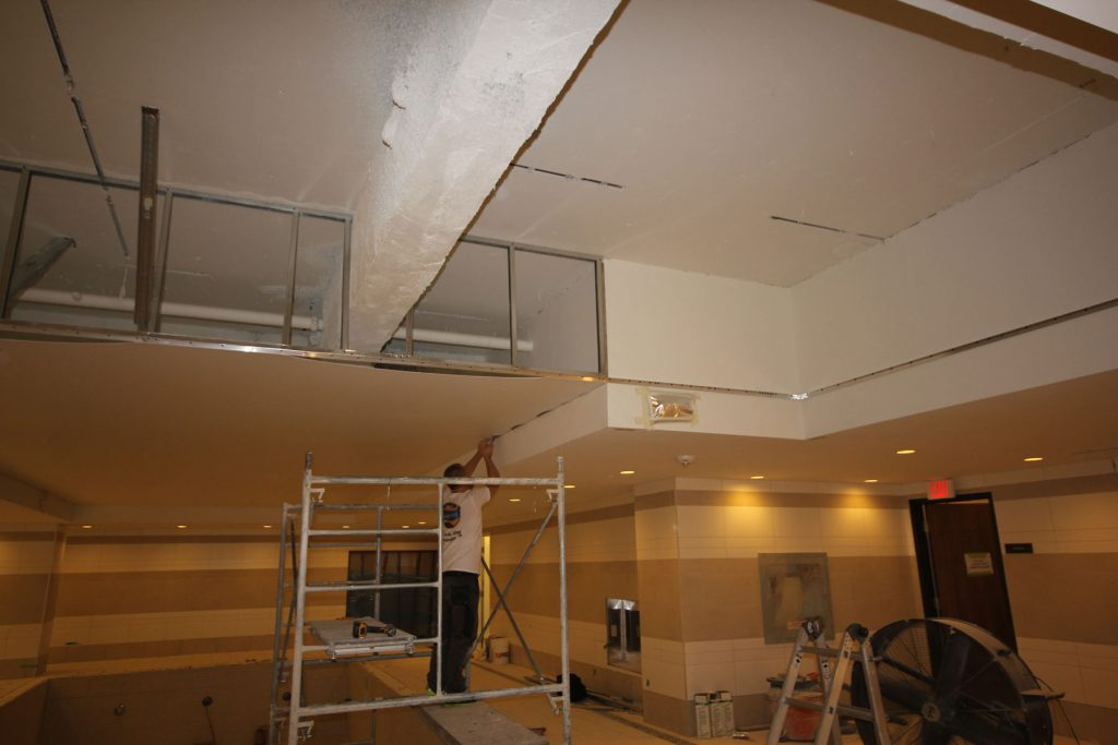 hiding the plain ceiling under the stretch ceiling fabric london