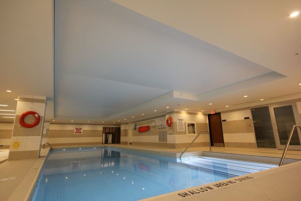 swimming pool with stretch ceiling led lights