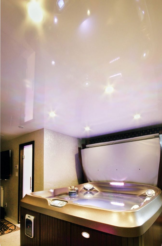 reflective stretch ceiling in hottub