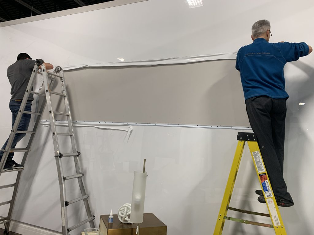 laqfoil stretch ceiling company install custom banner hong kong