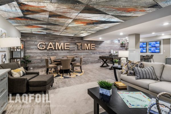 reflective printed ceiling in luxury basement