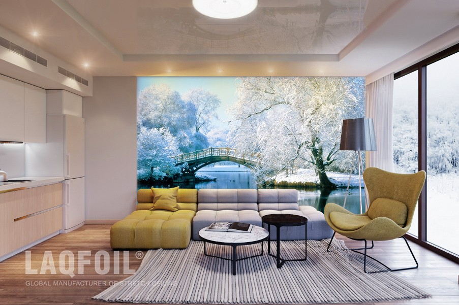 Multilevel Reflective Ceiling And Custom Printed Wall Mural
