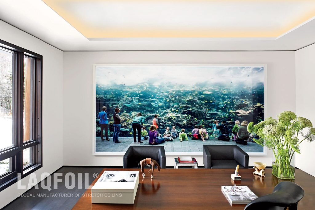 Custom Printed Wall Mural And Acoustic Stretch Ceiling With Cove Lighting