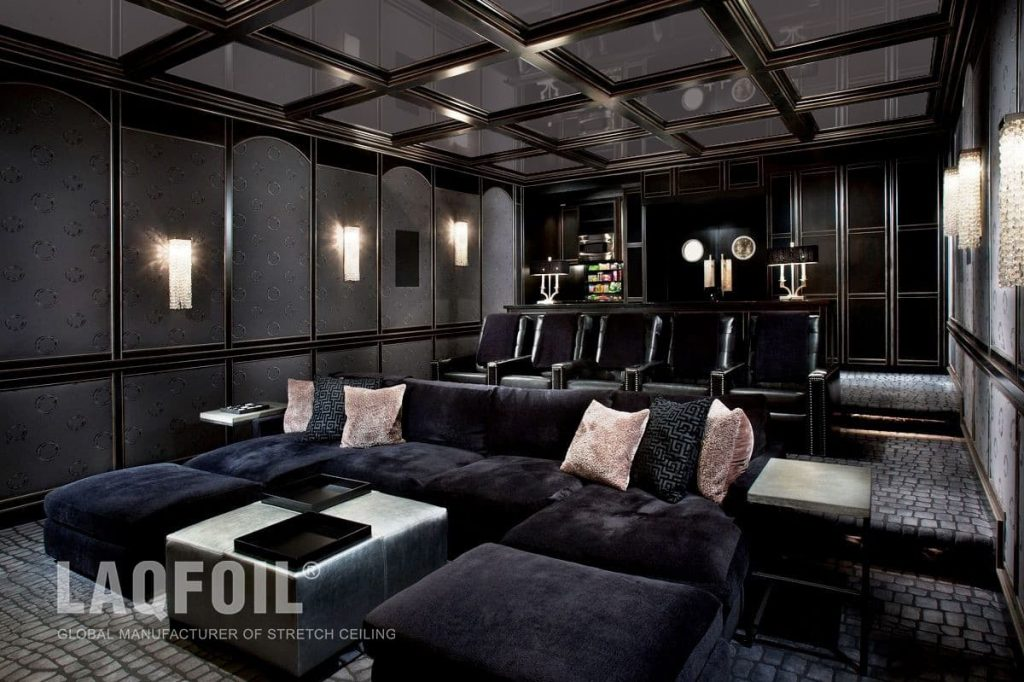 Amazing Basement Theater Room with Waffle Ceiling and Reflective Stretch Ceiling Tiles