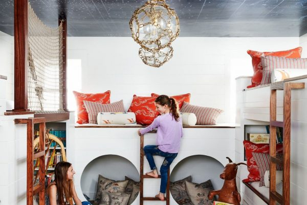 kids room with printed ceiling