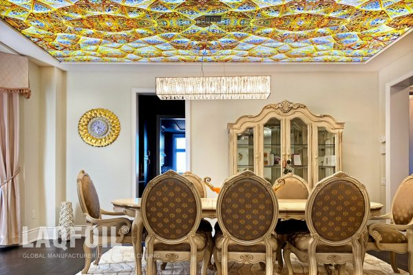 backlit printed ceiling in classic dining room