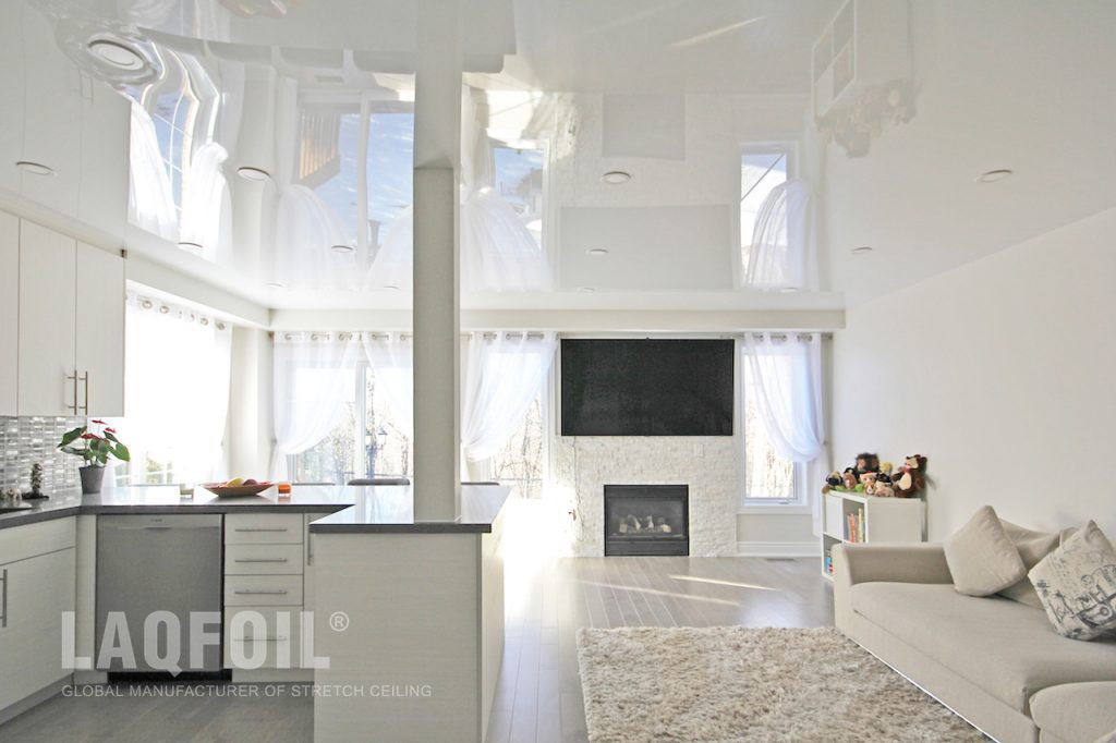 Luxury Family Room with Amazing High Gloss Stretch Ceiling