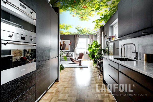 backlit printed ceiling in custom kitchen
