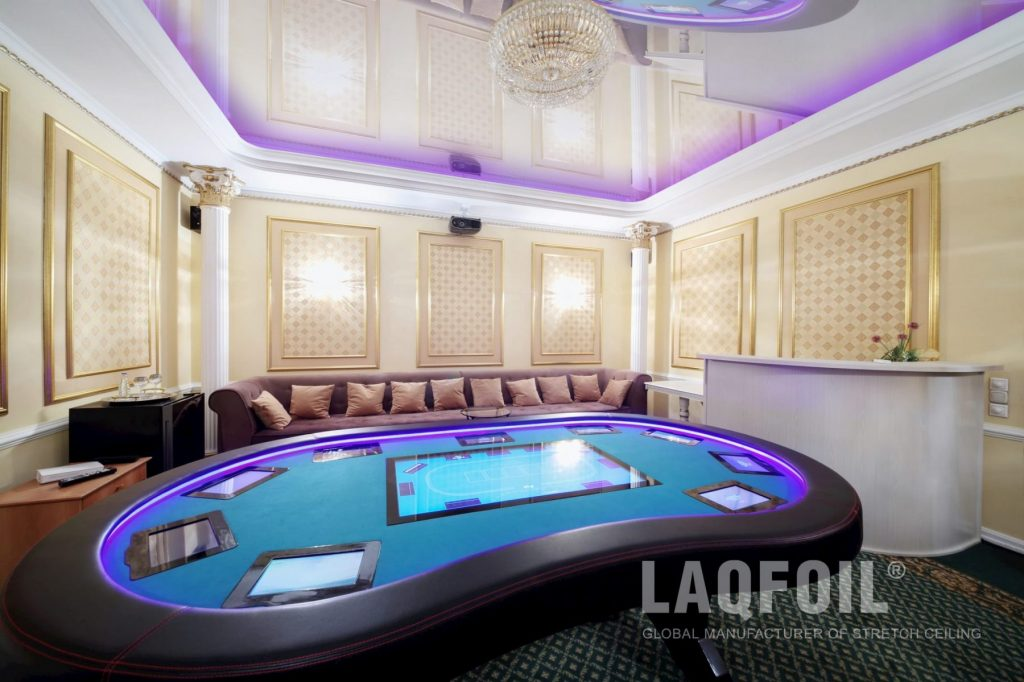 Basement Game Room with Amazing Backlit Stretch Ceiling