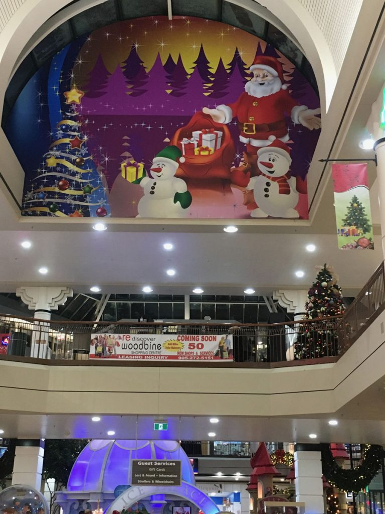 Santa custom wall cover in woodbine mall GTA
