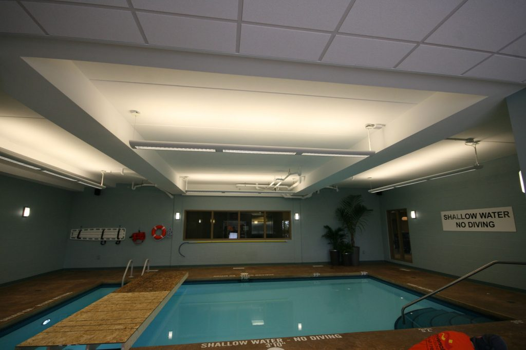 swimming pool with plain ceiling