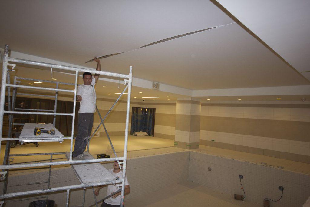 work in progress of stretch ceiling installation cyprus