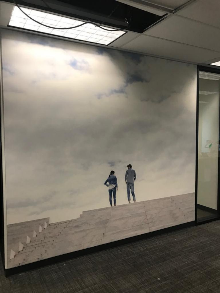 two people standing on top of the hill custom wall mural rogers office